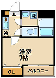 JR南武線 武蔵中原駅 徒歩1分の賃貸マンション 2階1Kの間取り
