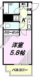 京王線 京王八王子駅 徒歩3分の賃貸マンション 9階1Kの間取り