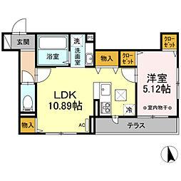 (仮)D-room長峰A棟 3階1LDKの間取り