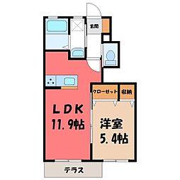 栃木県真岡市大谷台町の賃貸アパートの間取り