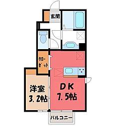 サニーフラット E 1階1DKの間取り
