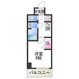 JR阪和線 美章園駅 徒歩9分の賃貸マンション 2階1Kの間取り
