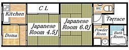大阪府大阪市生野区勝山南3丁目の賃貸アパートの間取り