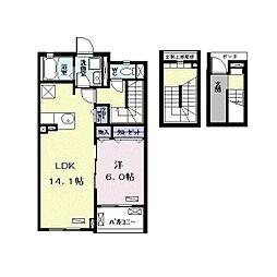 つくばエクスプレス 南流山駅 徒歩13分の賃貸アパート 3階1LDKの間取り