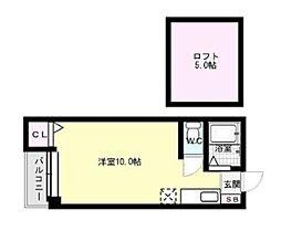 福岡県福岡市早良区西新5丁目の賃貸アパートの間取り