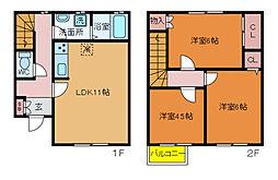 [テラスハウス] 千葉県松戸市平賀 の賃貸【/】の間取り