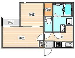 Cozy博多駅東 1階2Kの間取り
