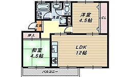 大阪府堺市北区東浅香山町3丁の賃貸マンションの間取り