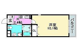 阪急京都本線 正雀駅 徒歩7分の賃貸マンション 3階1Kの間取り