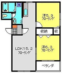 神奈川県川崎市高津区千年の賃貸マンションの間取り