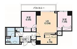 JR京浜東北・根岸線 横浜駅 徒歩4分の賃貸マンション 16階2LDKの間取り