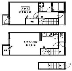 JR山手線 恵比寿駅 徒歩4分の賃貸アパート 2階1LDKの間取り