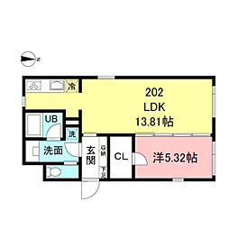 ASTILE新宿III 2階1LDKの間取り