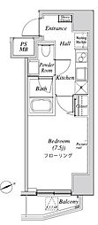 ニューガイア リルーム芝 2階1Kの間取り