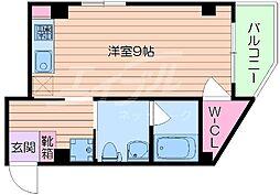 阪急千里線 千里山駅 徒歩1分の賃貸マンション 3階ワンルームの間取り