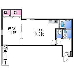 フジパレス田中町III番館 2階1LDKの間取り