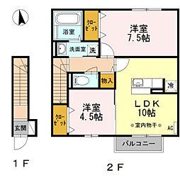 神奈川県座間市栗原中央2丁目の賃貸アパートの間取り