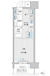 JR南武線 武蔵新城駅 徒歩6分の賃貸マンション 7階1Kの間取り