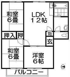 まるきハイツ津田[1階]の間取り