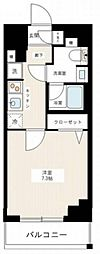 京成本線 千住大橋駅 徒歩3分の賃貸マンション 4階1Kの間取り