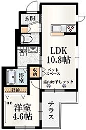 JR南武線 谷保駅 徒歩13分の賃貸マンション 1階1LDKの間取り