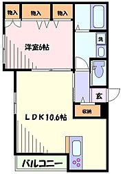 東急東横線 新丸子駅 徒歩5分の賃貸マンション 2階1LDKの間取り