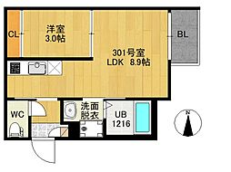 R-SMART南仙台 3階1LDKの間取り