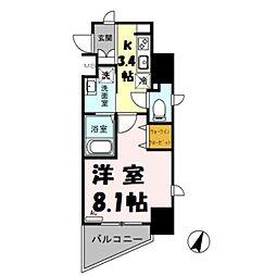 (仮)越谷プロジェクト 5階1Kの間取り