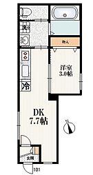 西武池袋線 練馬高野台駅 徒歩10分の賃貸マンション 1階1DKの間取り