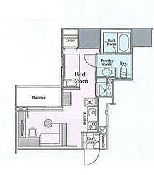 ロイジェントパークス四ツ谷 7階ワンルームの間取り