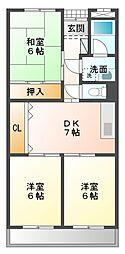 愛知県豊橋市緑ケ丘1丁目の賃貸アパートの間取り