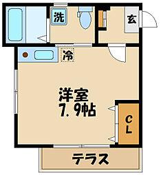 京王線 聖蹟桜ヶ丘駅 徒歩10分の賃貸アパート 2階ワンルームの間取り