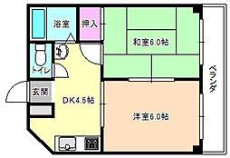 三熊ハイツ7号[2階]の間取り