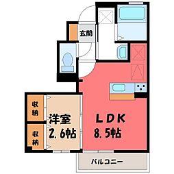 JR東北本線 宇都宮駅 バス40分 壁梨下車 徒歩8分の賃貸アパート 1階1LDKの間取り