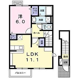 神奈川県厚木市上依知の賃貸アパートの間取り