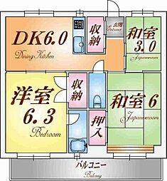 ビレッジハウス鈴蘭台[2階]の間取り