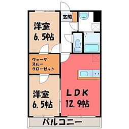 ルミエールmm 4階2LDKの間取り