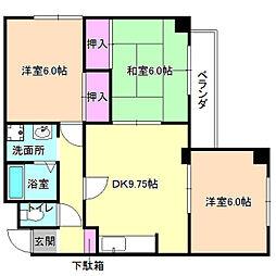 大阪府枚方市長尾元町5丁目の賃貸マンションの間取り