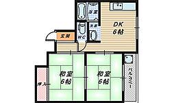 大阪府堺市北区東雲東町1丁の賃貸マンションの間取り