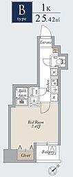 東京メトロ日比谷線 入谷駅 徒歩1分の賃貸マンション 7階1Kの間取り