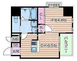 おおさか東線 南吹田駅 徒歩10分の賃貸マンション 2階1DKの間取り