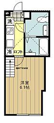 JR中央線 八王子駅 徒歩10分の賃貸アパート 1階1Kの間取り