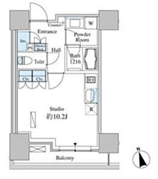 JR山手線 田町駅 徒歩13分の賃貸マンション 3階ワンルームの間取り