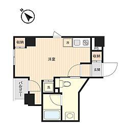 東京メトロ有楽町線 月島駅 徒歩3分の賃貸マンション 6階ワンルームの間取り