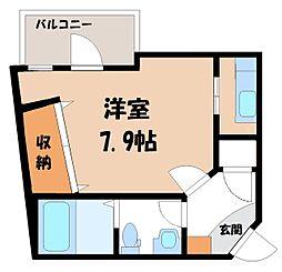 栃木県宇都宮市西川田3丁目の賃貸マンションの間取り