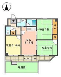愛知県名古屋市名東区平和が丘2丁目の賃貸マンションの間取り