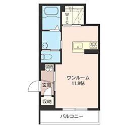 シャーメゾンキヨ 2階ワンルームの間取り