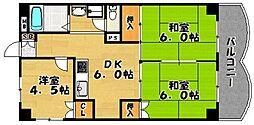第三城南姪浜ビル[602号室]の間取り