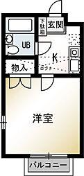 神奈川県平塚市夕陽ケ丘の賃貸アパートの間取り