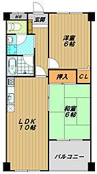 ハピネス東須磨[4階]の間取り